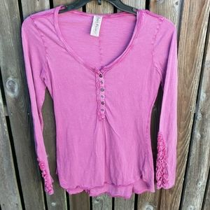 Free People L Top Long Sleeve Raspberry Pink Shirt